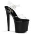 PLEASER TABOO-708 Clear-Black Ankle Strap Sandals - Shoecup.com