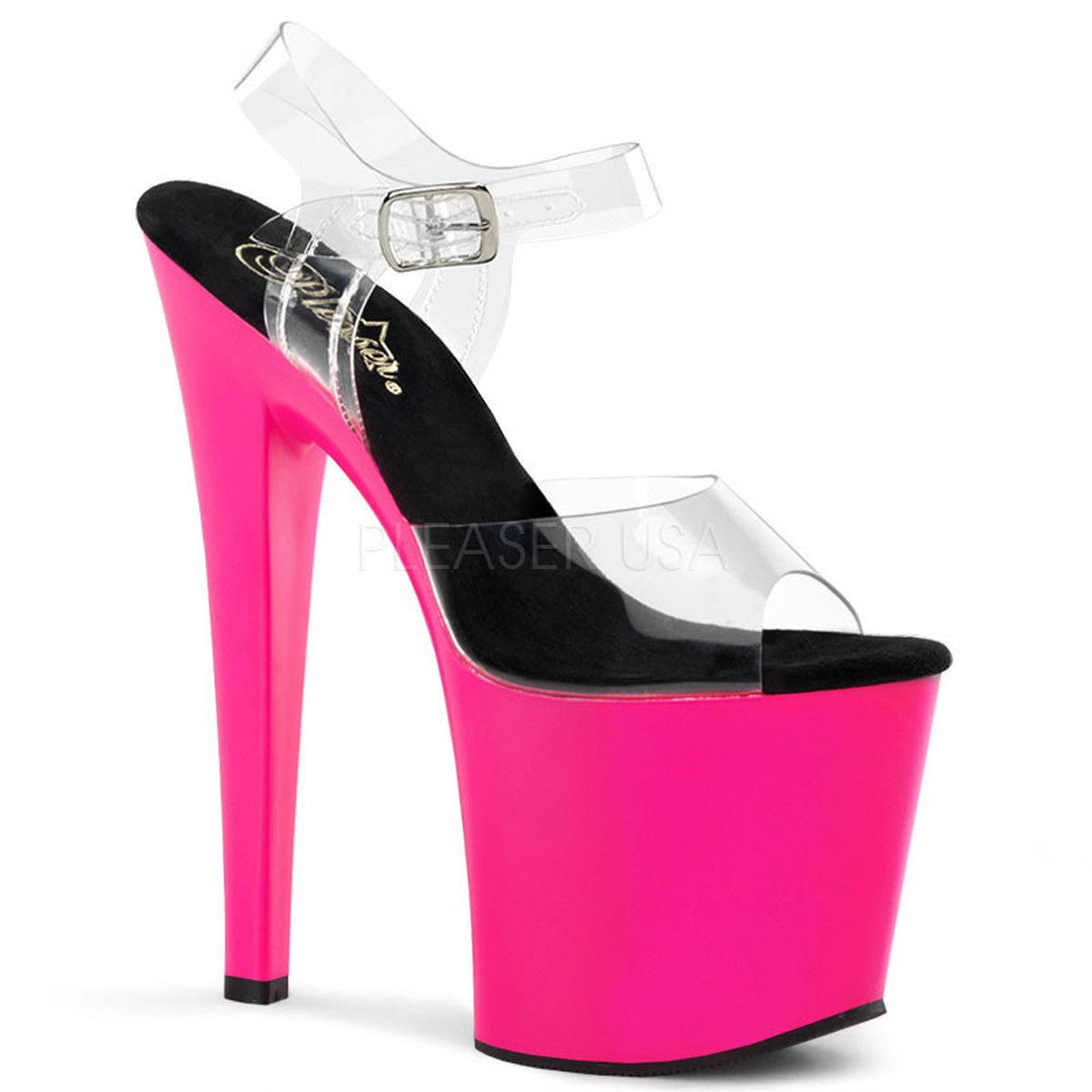 PLEASER TABOO-708UV Clear-Neon Pink Ankle Strap Sandals - Shoecup.com