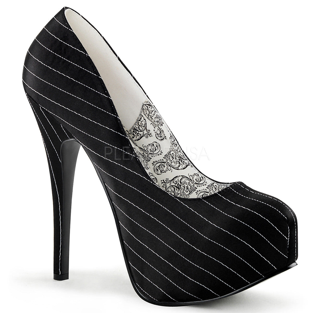 Bordello,Bordello TEEZE-06 Black Pinstripe Satin Pumps - Shoecup.com
