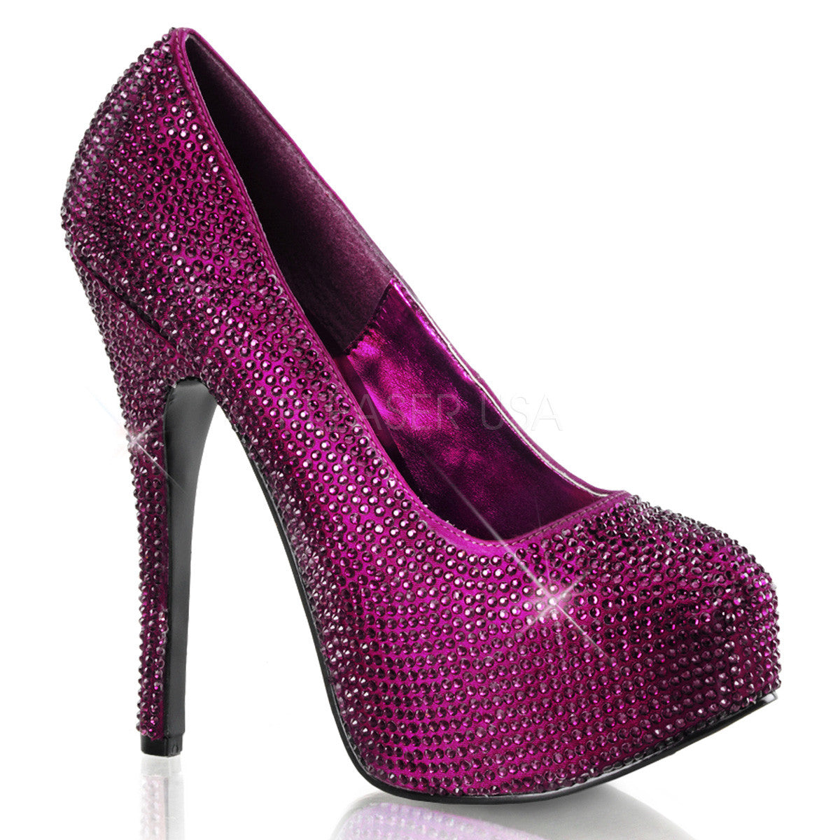 Bordello,Bordello TEEZE-06R Purple Satin Rhinestoned Pumps - Shoecup.com