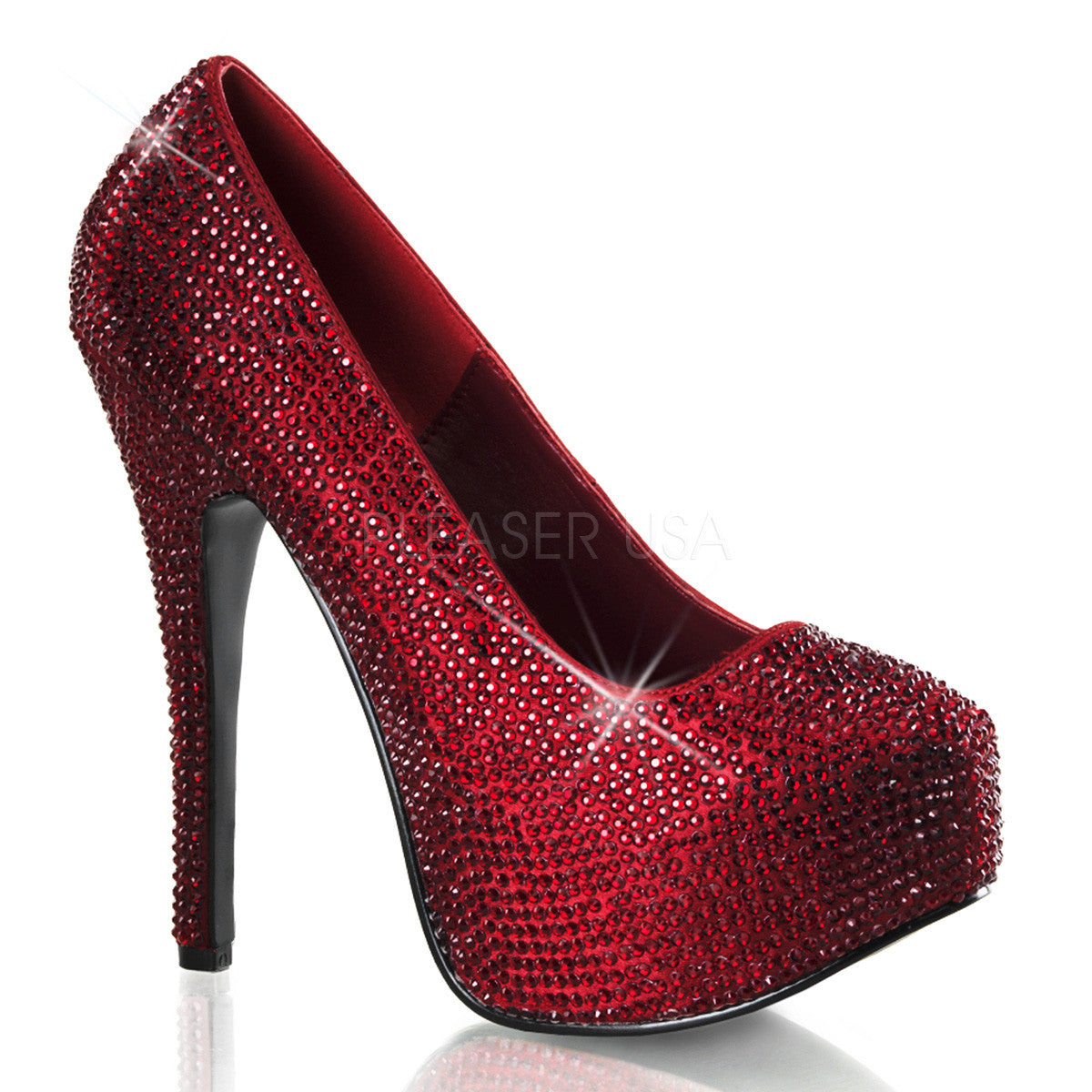 Bordello,Bordello TEEZE-06R Ruby Red Satin Rhinestoned Pumps - Shoecup.com