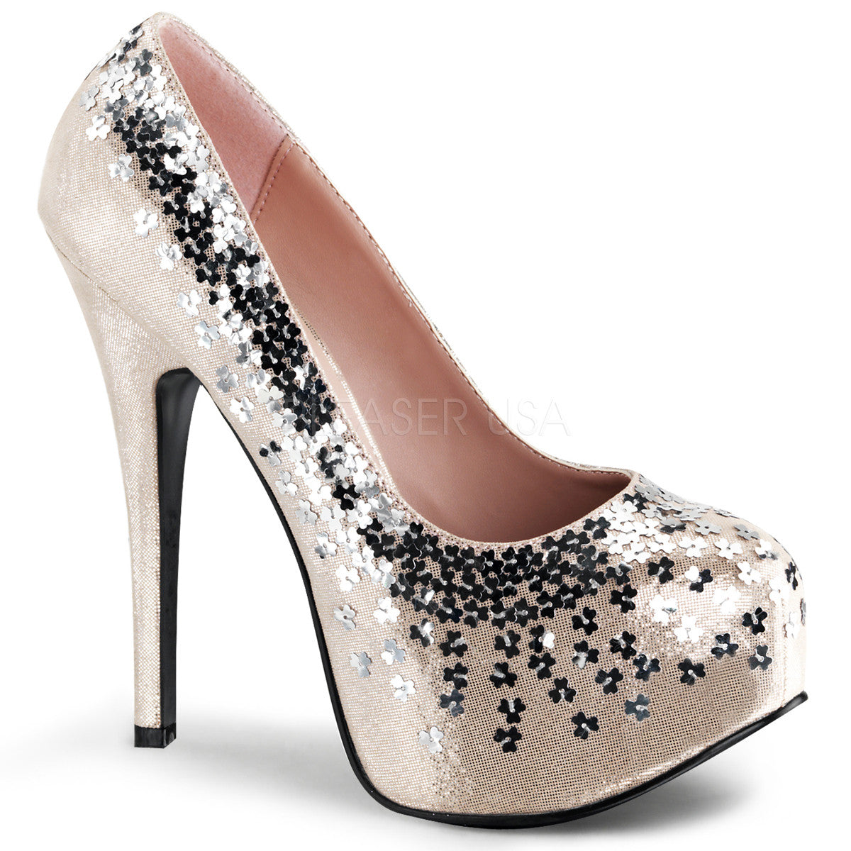 FABULICIOUS TEEZE-06SQ Blush Sequined Metallic Fabric Platform Pumps - Shoecup.com