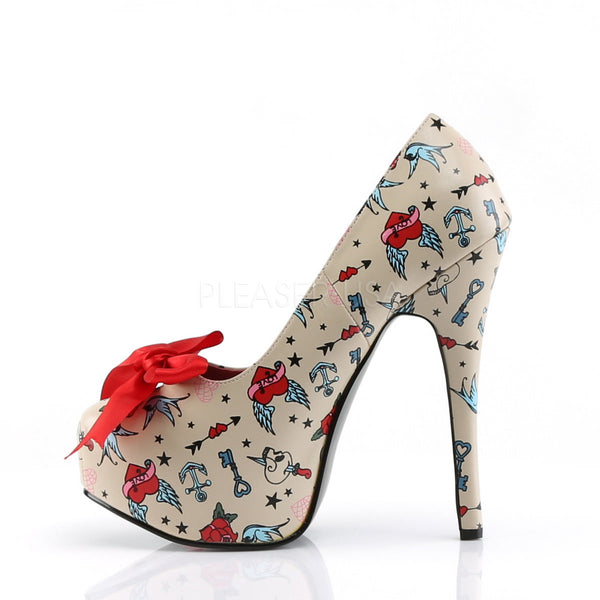 PINUP COUTURE TEEZE-12-3 Cream Tattoo Print Platform Pumps - Shoecup.com - 2