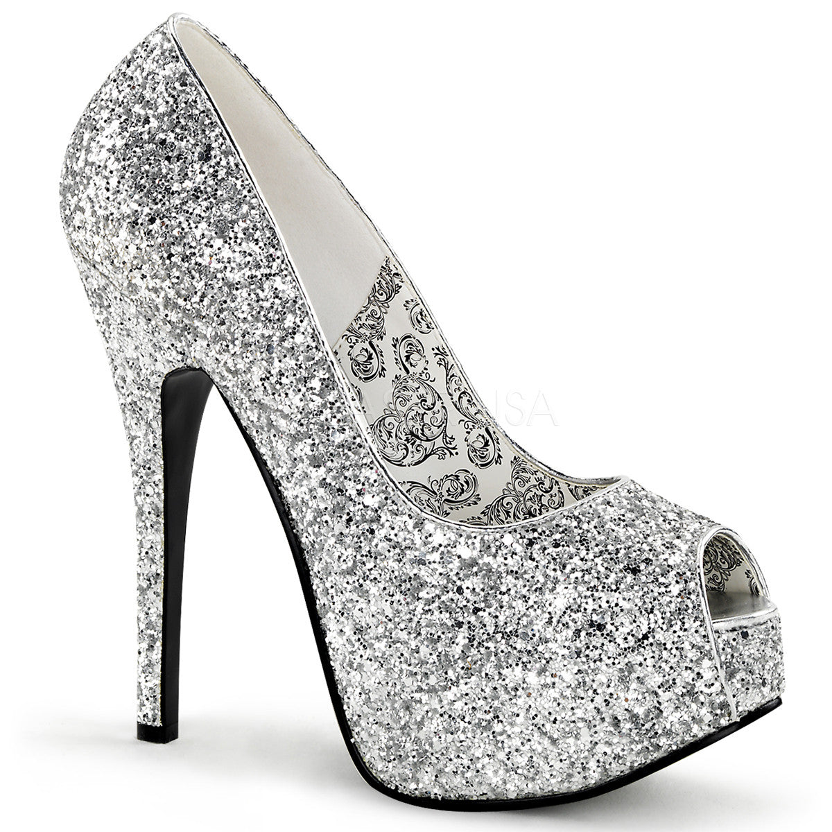Bordello,Bordello TEEZE-22G Silver Glitter Pumps - Shoecup.com