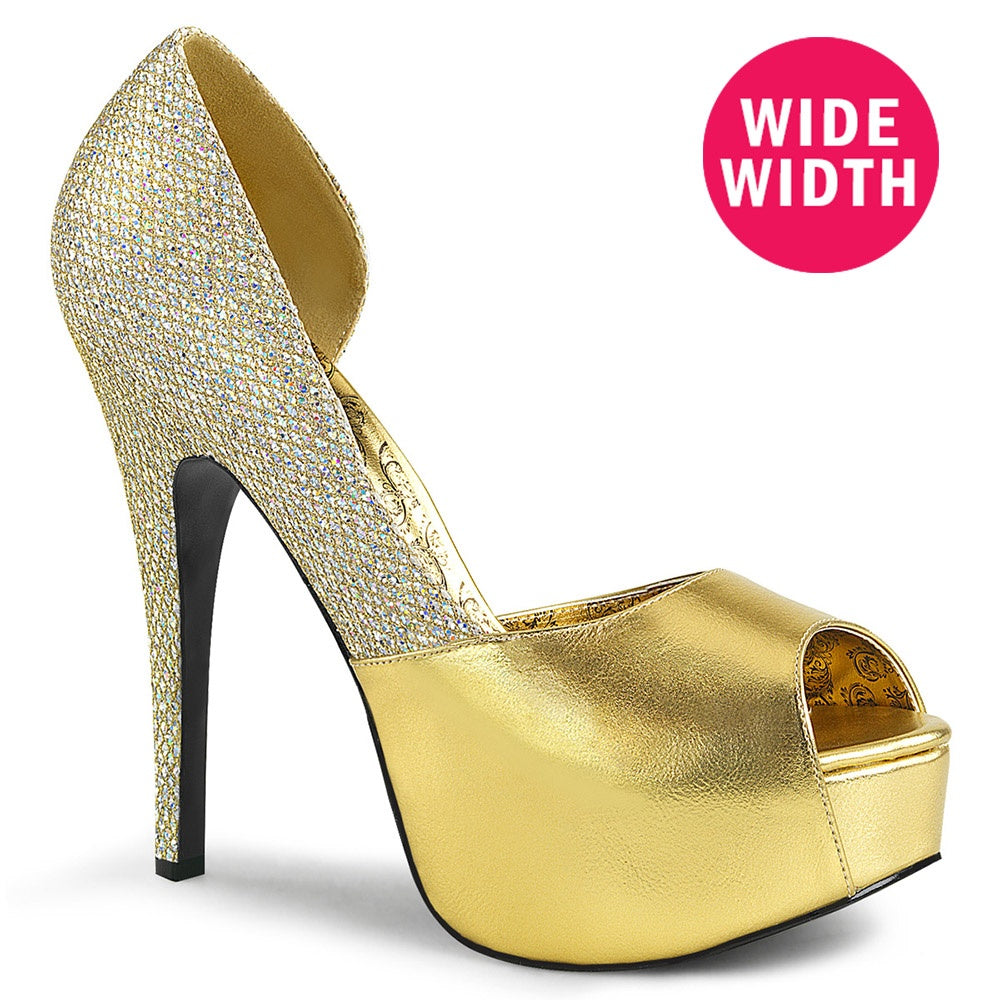 Pleaser Pink Label TEEZE-41W Gold Faux Leather-Multi Glitter Pumps