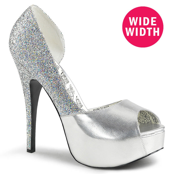 Pleaser Pink Label TEEZE-41W Silver Faux Leather-Multi Glitter Pumps