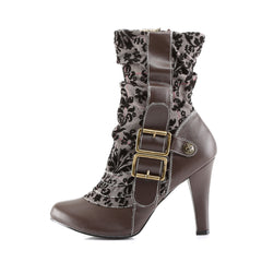 DEMONIA TESLA-106 Brown Pu-Tweed SteamPunk Boots - Shoecup.com - 3