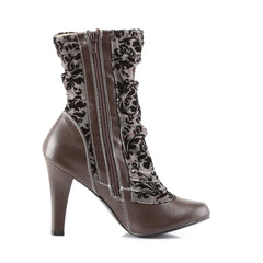 DEMONIA TESLA-106 Brown Pu-Tweed SteamPunk Boots - Shoecup.com - 5