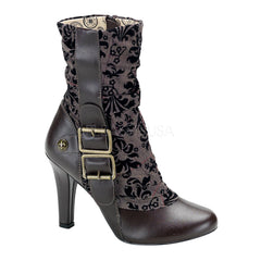 DEMONIA TESLA-106 Brown Pu-Tweed SteamPunk Boots - Shoecup.com - 1