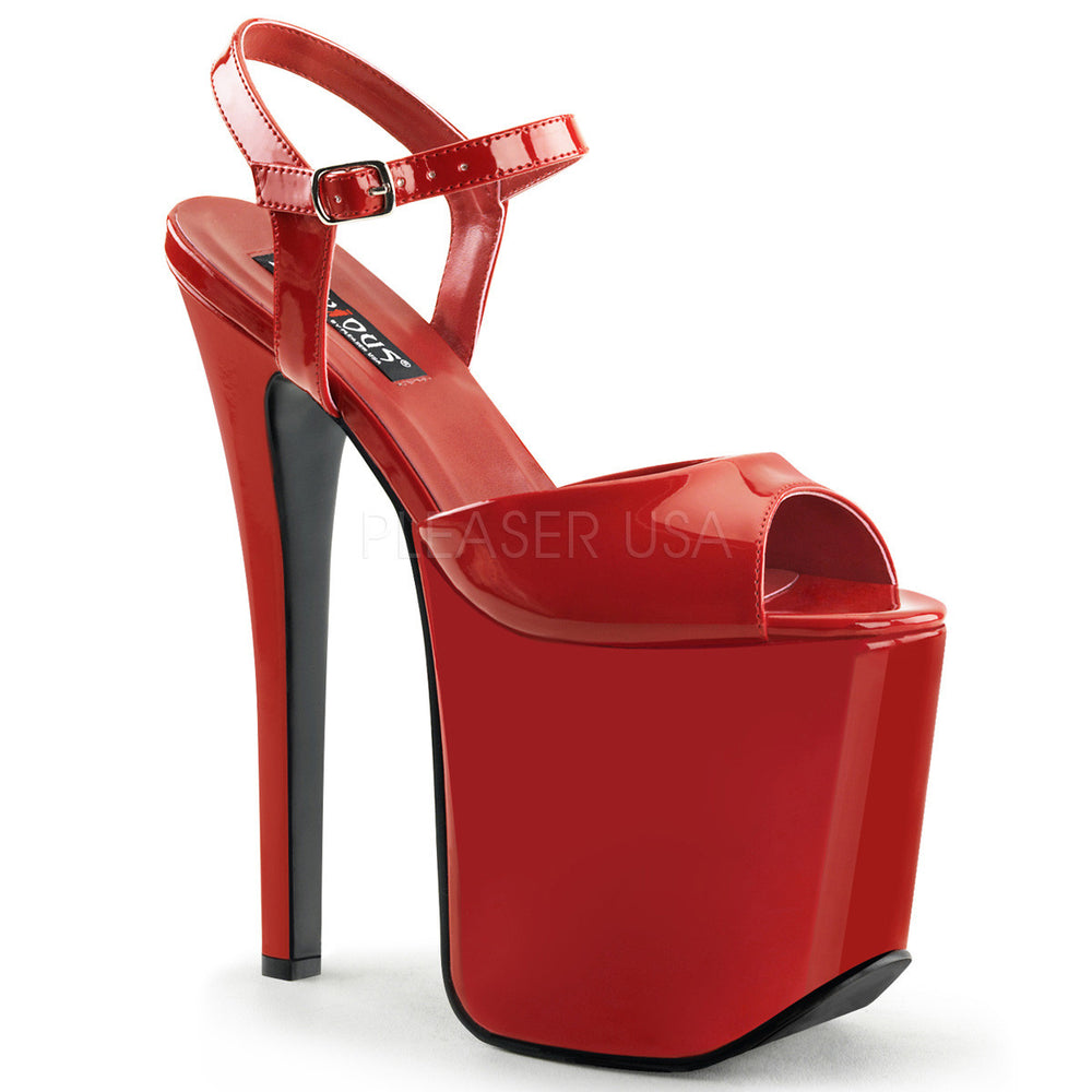 Devious TRAMP-709 Red Patent Ankle Strap Sandals