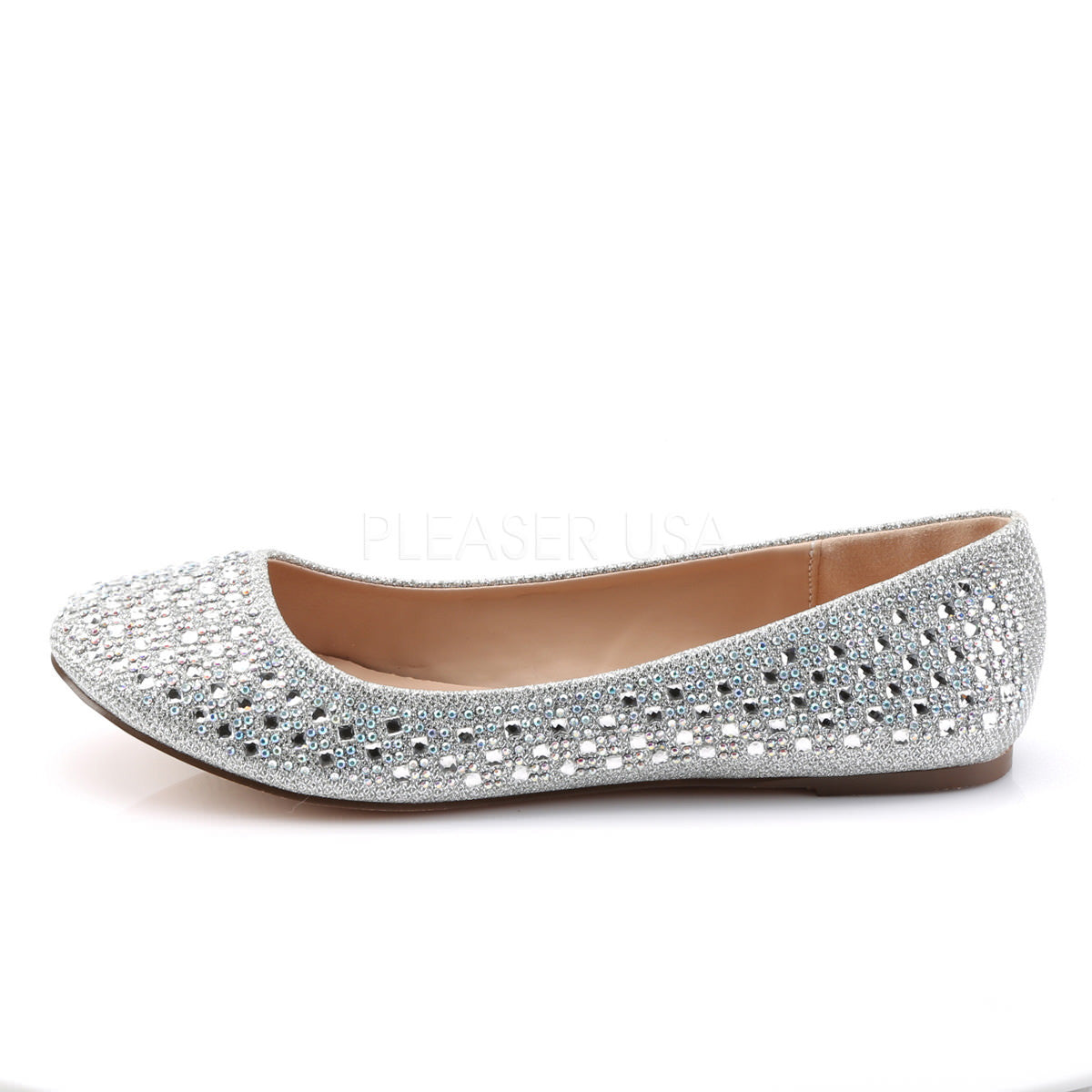 3238afb8b9f3 Fabulicious TREAT-06 Silver Glitter Mesh Fabric Flats. Previous