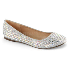 Fabulicious TREAT-06 Silver Glitter Mesh Fabric Flats - Shoecup.com