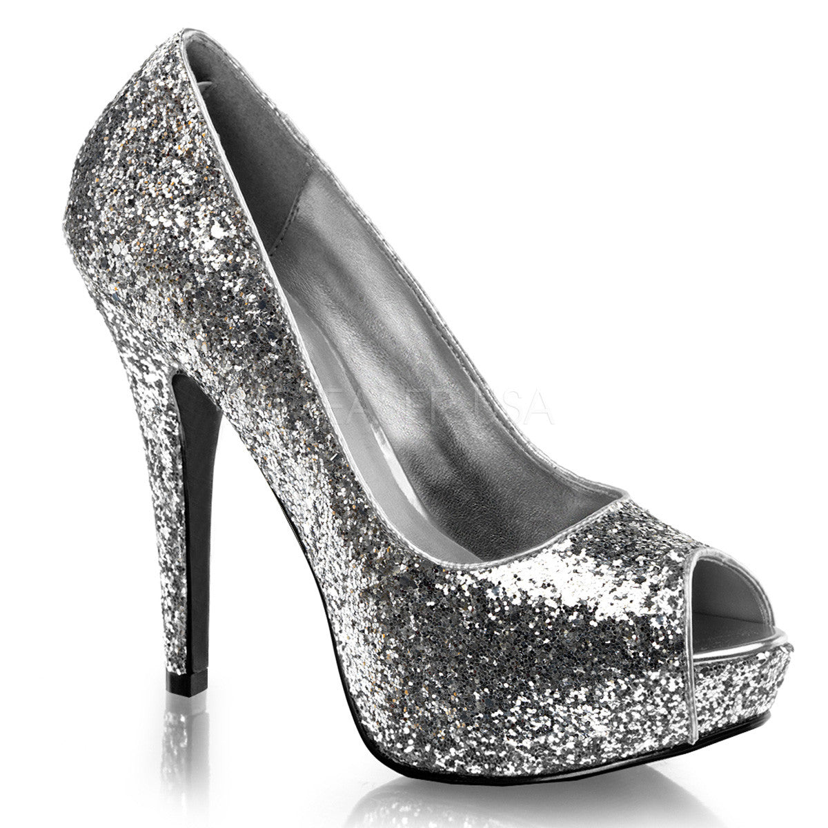 Peep shoes toe silver - results from brands Pleaser, Touch Ups, Nina, products like Womens TS35 Verrda Platform Slingback Heeled Sandals, Silver, US, Cecilio Women's Ellie Skylar - Black/Silver PU Platform Shoes, Fly London YahlFly (Silver Borgogna) Women's Shoes, Women's Shoes.