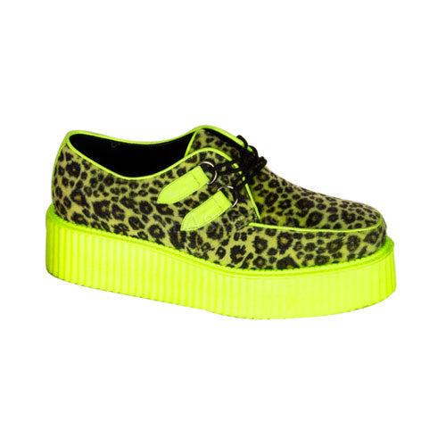 Demonia,DEMONIA V-CREEPER-507UV Men's Cheetah Fur-UV Lime Creepers - Shoecup.com