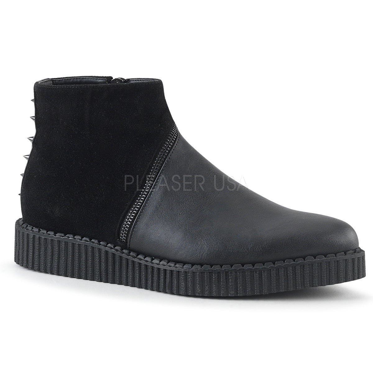 "Demonia V-CREEPER-750 Black 1 1/4"" Platform Pointed Toe Ankle Boot Creeper With Asymmetrical Zipper Across the Vamp and Cone Studs Up the Back, Metal Inside Zip Closure"
