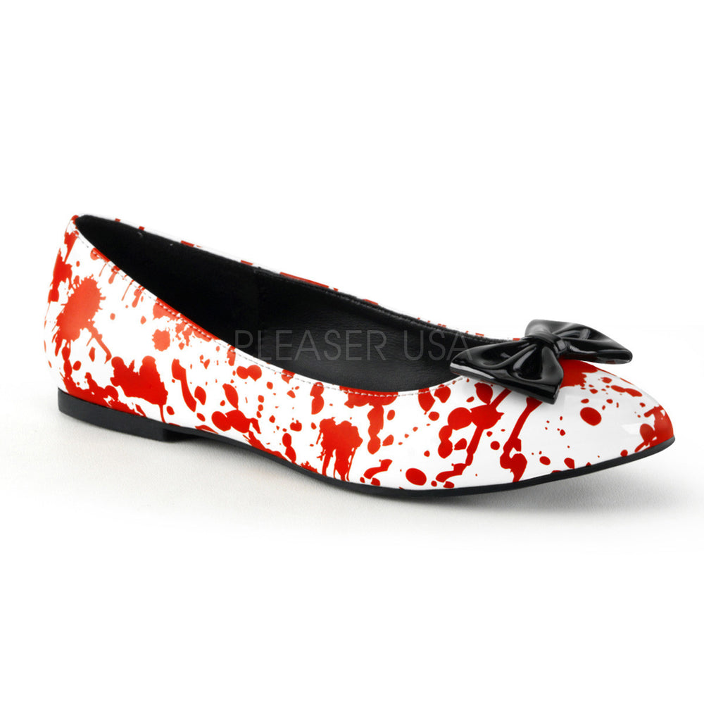 Funtasma VAIL-20BL White Costume Flats With Blood-Splattered