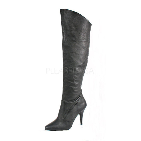 Pleaser VANITY-2013 Black Leather Knee High Boots - Shoecup.com
