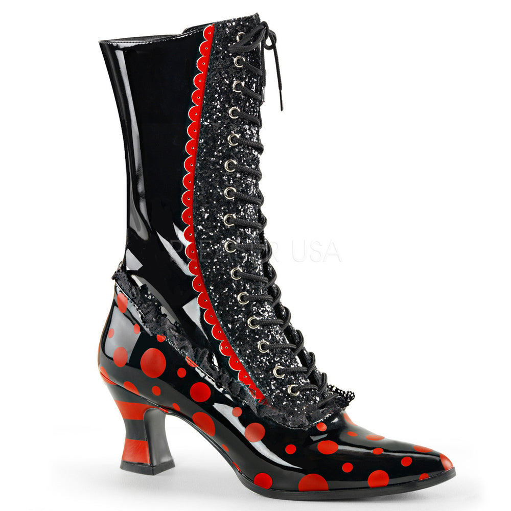 Funtasma VICTORIAN-122 Black-Red Patent Mid-Calf Witch Boots