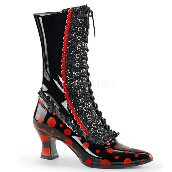 Funtasma VICTORIAN-122 Black-Red Patent Mid-Calf Witch Boots - Shoecup.com