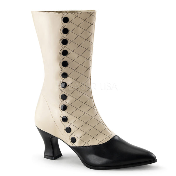 FUNTASMA VICTORIAN-123 Cream-Black Pu Boots - Shoecup.com