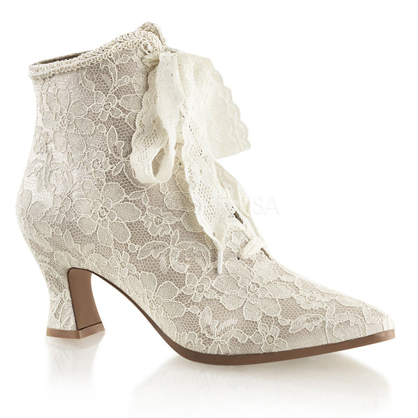 FABULICIOUS VICTORIAN-30 Champaign Satin-Lace Ankle Boots - Shoecup.com