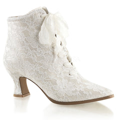 FABULICIOUS VICTORIAN-30 Ivory Satin-Lace Ankle Boots - Shoecup.com