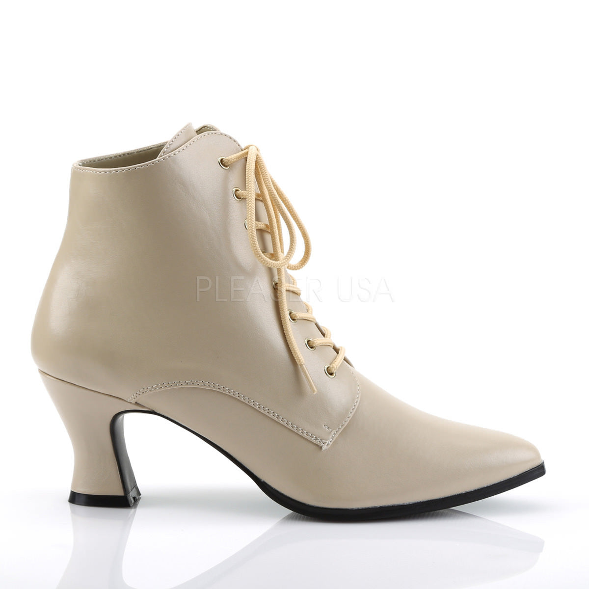 Funtasma VICTORIAN-35 Women/'s Brown Pu Kitten Low Heel Front Lace Up Ankle Boots