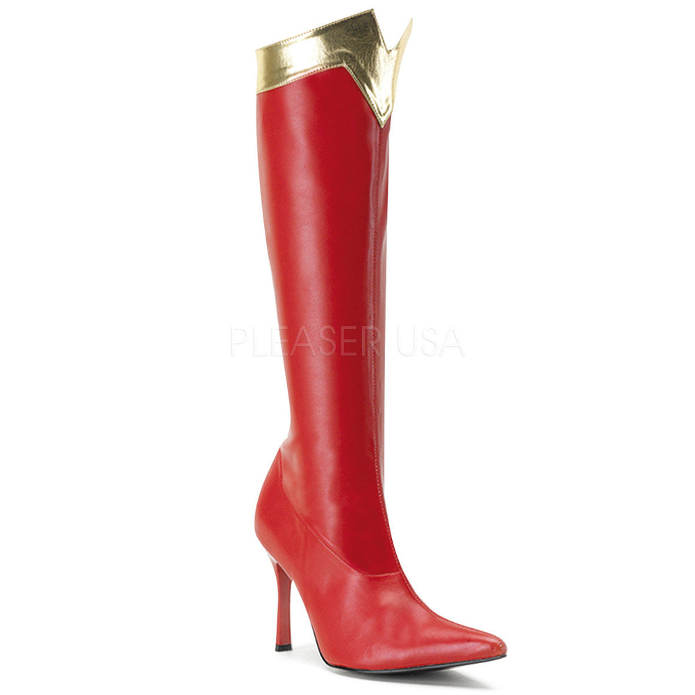FUNTASMA WONDER-130 Red-Gold Stretch Pu Wonder Woman Boots