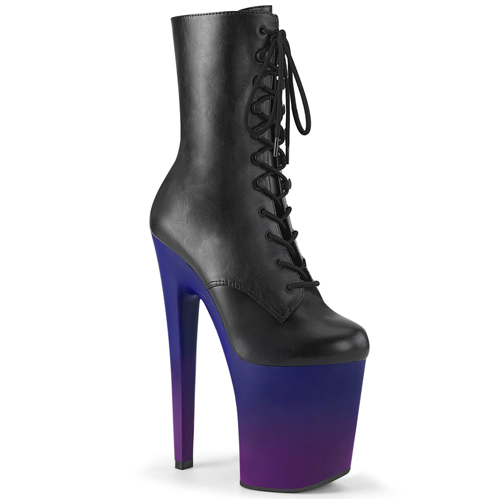 "8"" Heel XTREME-1020BP Black Pu Blue Purple Ombre"