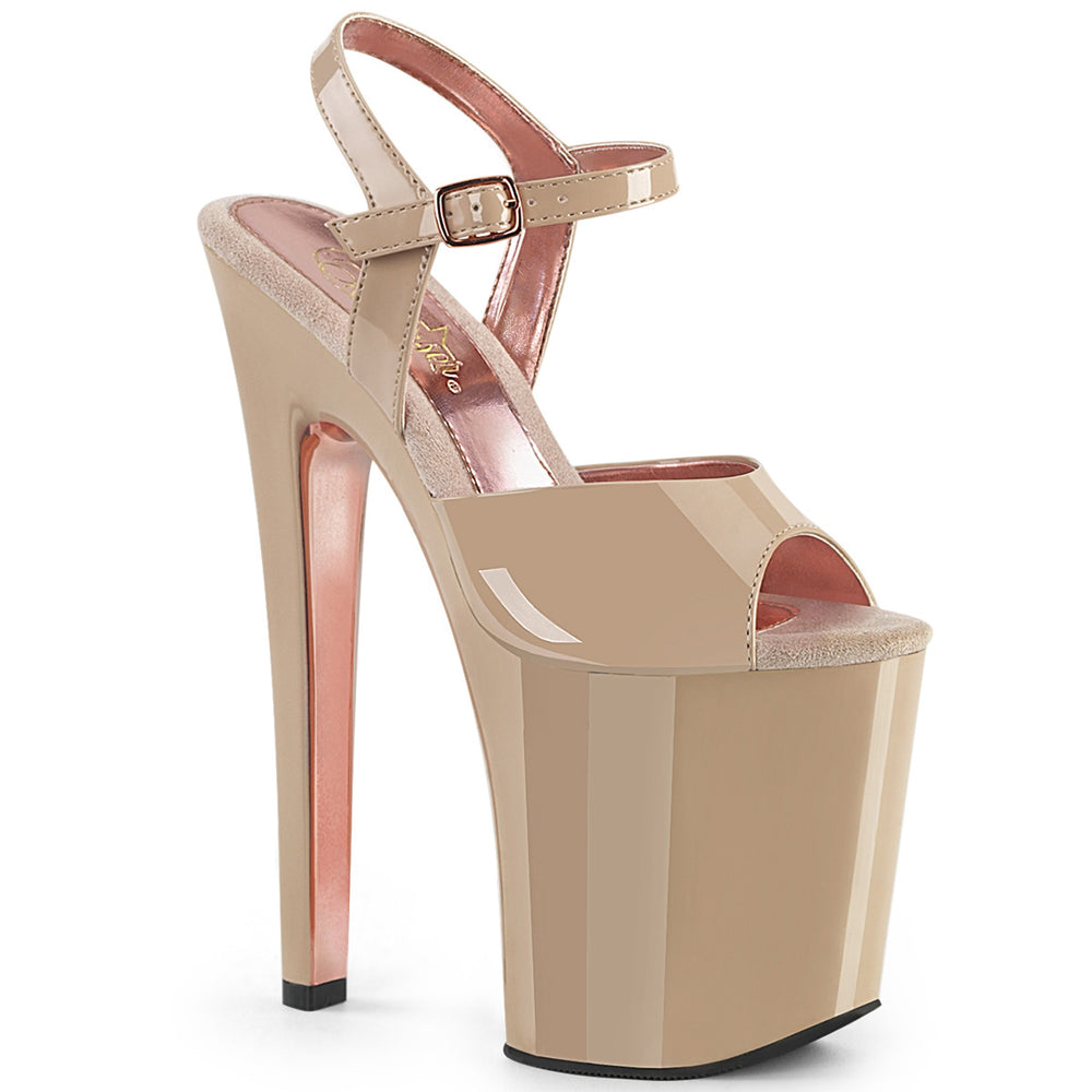 "8"" Heel XTREME-809TT Nude-Rose Gold Chrome"