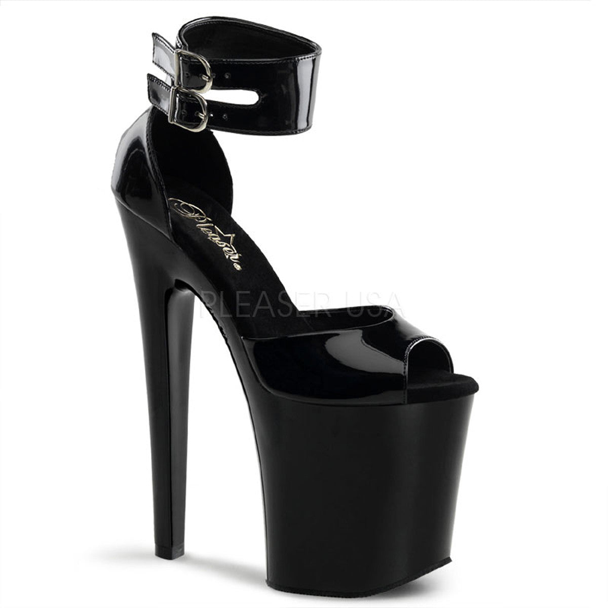 PLEASER XTREME-875 Black Pat Platform Sandals - Shoecup.com