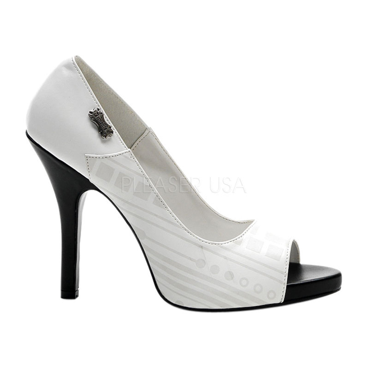 Demonia,DEMONIA ZOMBIE-06UV White Pu-UV White Cyber Pumps - Shoecup.com