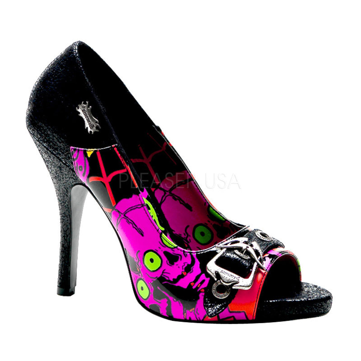 Demonia,DEMONIA ZOMBIE-08 Black Turtle Pu Screen Prints Pumps - Shoecup.com