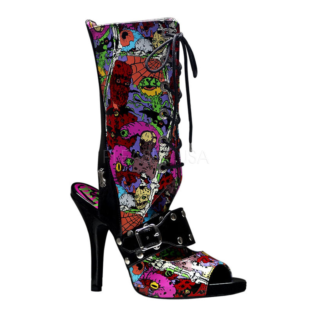 DEMONIA ZOMBIE-103 Black Pat Screen Prints Boots