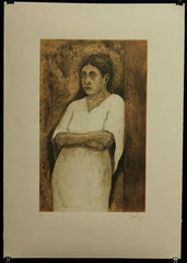 "Ricardo Leon - ""Contemplating woman"" Lithograph"