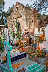 Church decorated for Dia de los Muertos