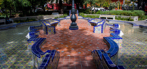 Talavera Tile in public park fountain in Puebla Mexico