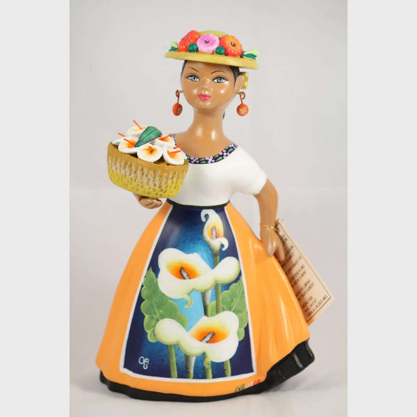 """Lupita"" Female Ceramic Doll Calla Lilies Basket Red Skirt Original Mexican"