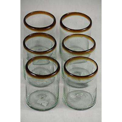 Amber Rim Rocks Glasses Set of 6 Mexican Glassware Hand Crafted