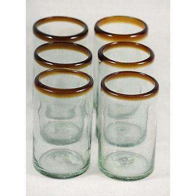 Amber Rim Tumblers Set 6 Hand Blown - Mexican Glassware