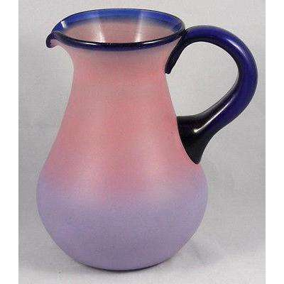 Blue Rim Pink Pear Pitcher & Set of 5 Glasses Hand Blown Painted Glass