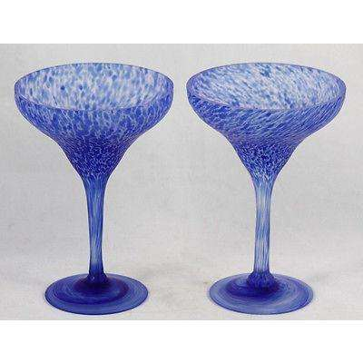 Champagne Glasses Hand Blown Swirls+Blue Leopard Look Gorgeous