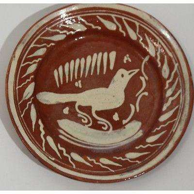 Vintage Mexican Ceramic Dish w Bird. Rustic, Handmade, Hand Painted, Mexico