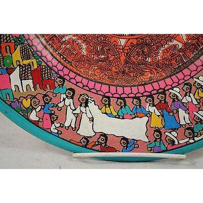 Mexican Ceramic Hanging Plate Hand Painted Calendar Artist Mark Mexico
