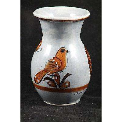 Vintage Mexican Ceramic Vase/ Pottery Hand Made Signed Folk Art Tonala Mexico