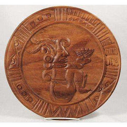 Wood Plate With Mayan Priest Offering Collectible Folk Art Mexico Hand Carved