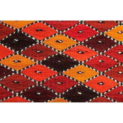 Mexican Wool Rug Hand Woven w Natural Dyes by Master Weavers, Diamond Design