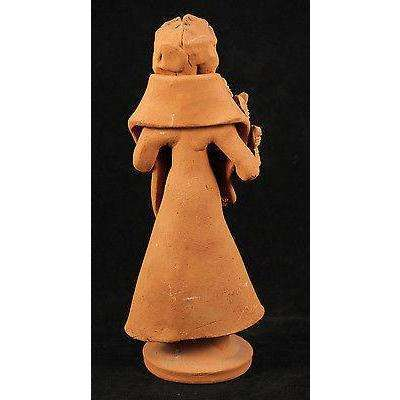 Mexican Catrina Clay Figurine Handmade Day of The Dead Rustic Holding Flowers