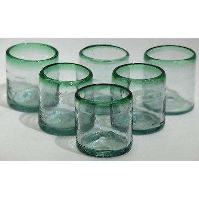 Green Rim Rocks Glasses Set 6 Mexican Glassware Original