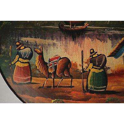 Antique Peruvian/Central America Ceramic Plate Hand Painted/Thrown 2 Women LLama